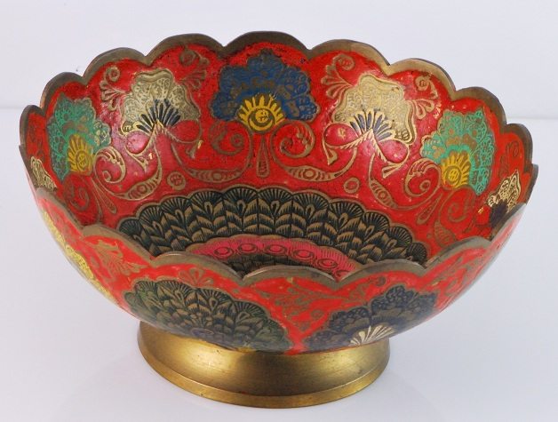 Indian Brass Amp Enamel Compote Bowl WPeacock Design 1812