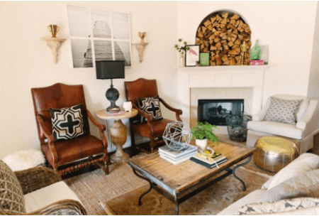 How to place your furntiture in an awkward living room layout with a corner fireplace