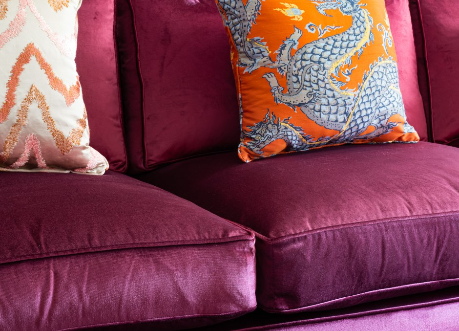 Kensington Townhouse interior_Family Room_Den_Snug_Purple and Orange colour scheme_Warm colour scheme_Grandmillennial style_Jim Thompson silk panlong fabric in Orange_Modern purple sectional sofa__Donghia Rubelli silk fabric_Tse design studio_Christine Tse Interiors_South Kensington_Kensington_American Expat in London neighbourhood_Interior Designer London Kensington_tv room_Houles trim