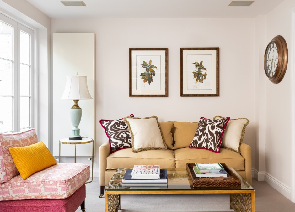 Kensington Townhouse_Family Room_Den_Living Room_Brown and Pink colour scheme_Warm colour scheme_Grandmillennial style_Christopher Farr Fabric_Nicholas Haslam Trim_brass and glass coffee table_pink slipper chair_brown sofa_pink cushion_Tse design studio_Christine Tse Interiors_South Kensington_Kensington_American Expat in London neighbourhood_Interior Designer London Kensington