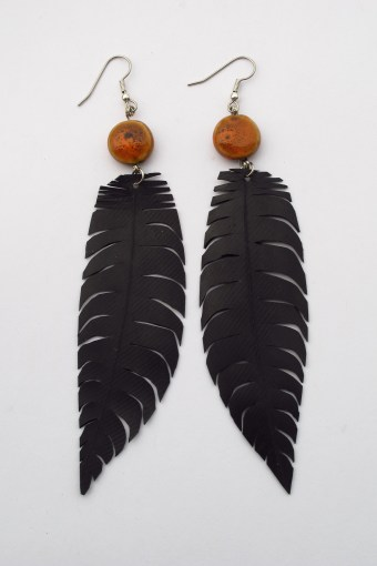 inner tube feather earrings