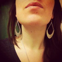 crescent earrings made from flattened spoons