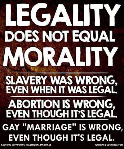 Legality does not equal morality