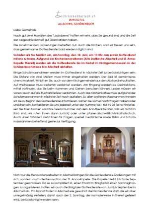 Brief an die Gemeinden Allschwil-Schönenbuch und Birsigtal - Juni 2020