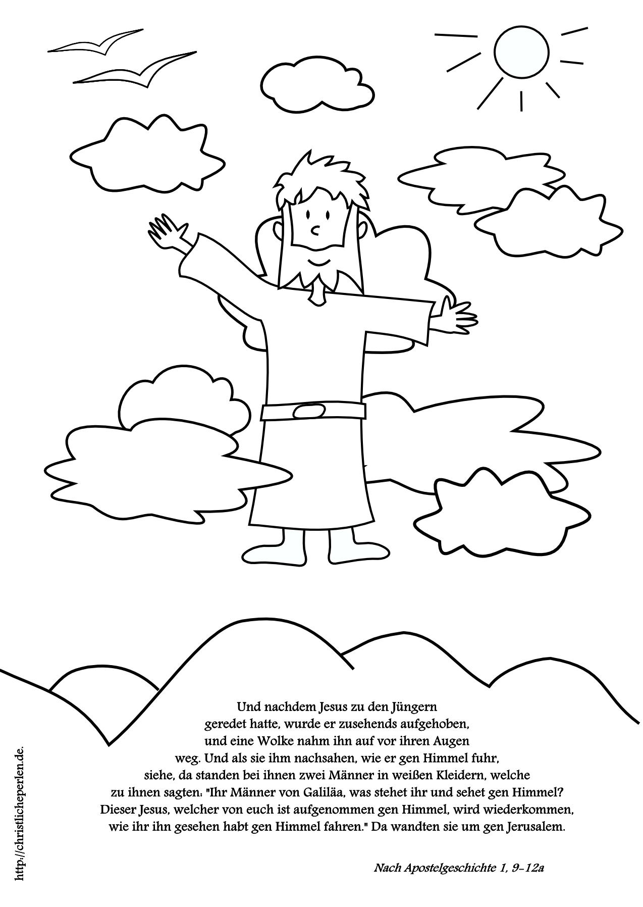 Basteln Wattebild Ausmalbild Zu Himmelfahrt