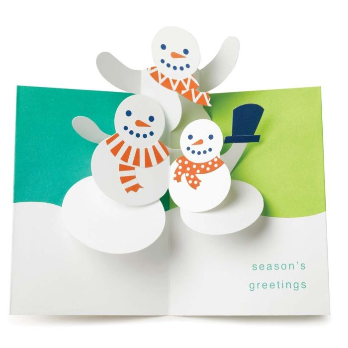 Holiday Cards Snowmen Trio 3d Christmas Cards