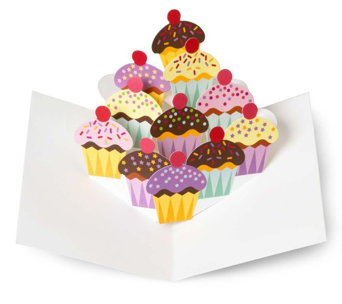 Cupcakes Pop Up Note Cards 3d Christmas Cards