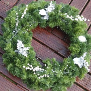 Christmas Door Wreath with white decorations