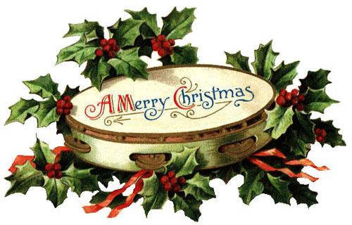 Free Clipart: Vintage Christmas Bells, Holly, Mistletoe