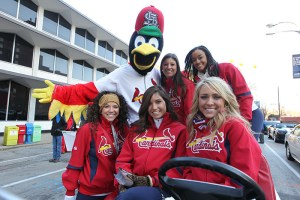 St. Louis Cardinals girls and FredBird at the 2013 Ameren Missouri Thanksgiving Day Parade.