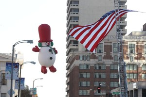 Frosty the Snowman at the 2013 Ameren Missouri Thanksgiving Day Parade.