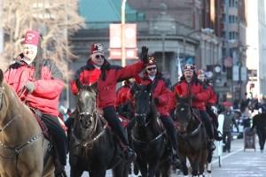Moolah Shriners on horseback at the 2013 Ameren Missouri Thanksgiving Day Parade.