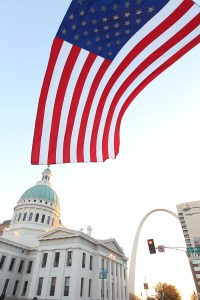 The flag of the United States flying in front of the St. Louis Courthouse before the 2013 Hungry Turkey 5k
