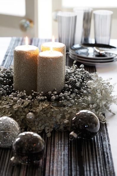Silver Christmas table setting