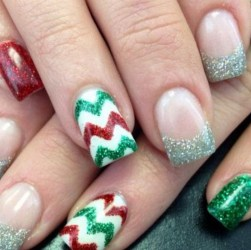 Cute Glitter Acrylic Nails Christmas Photos