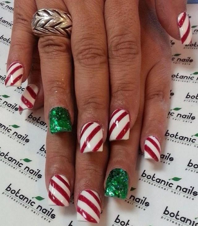 Christmas acrylic nails by botanicnails - 30 Festive Christmas Acrylic Nail Designs – Christmas Photos