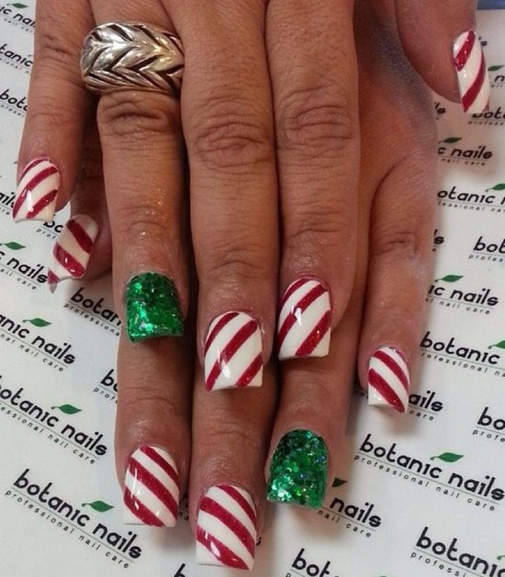 Christmas acrylic nails by botanicnails - 30 Festive Christmas Acrylic Nail Designs – Christmas Photos