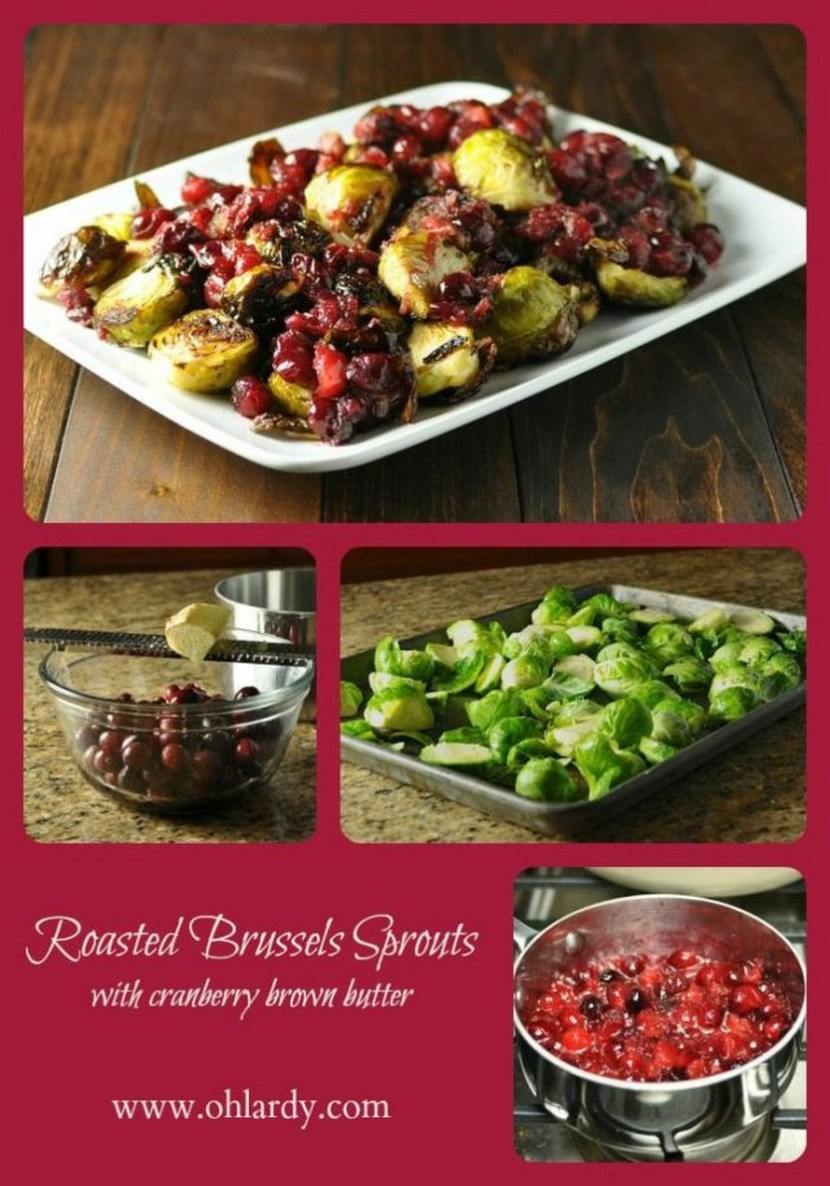 Roasted Brussels Sprouts with Cranberry Brown Butter Sauce
