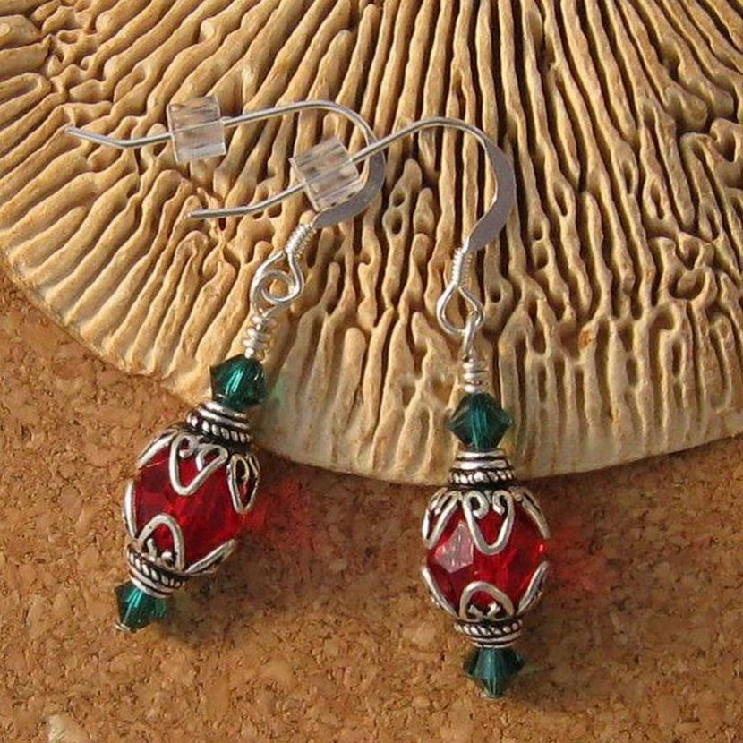 Swarovski Christmas Earrings Crystal Ornament by GlassMystique on Etsy, $20.00