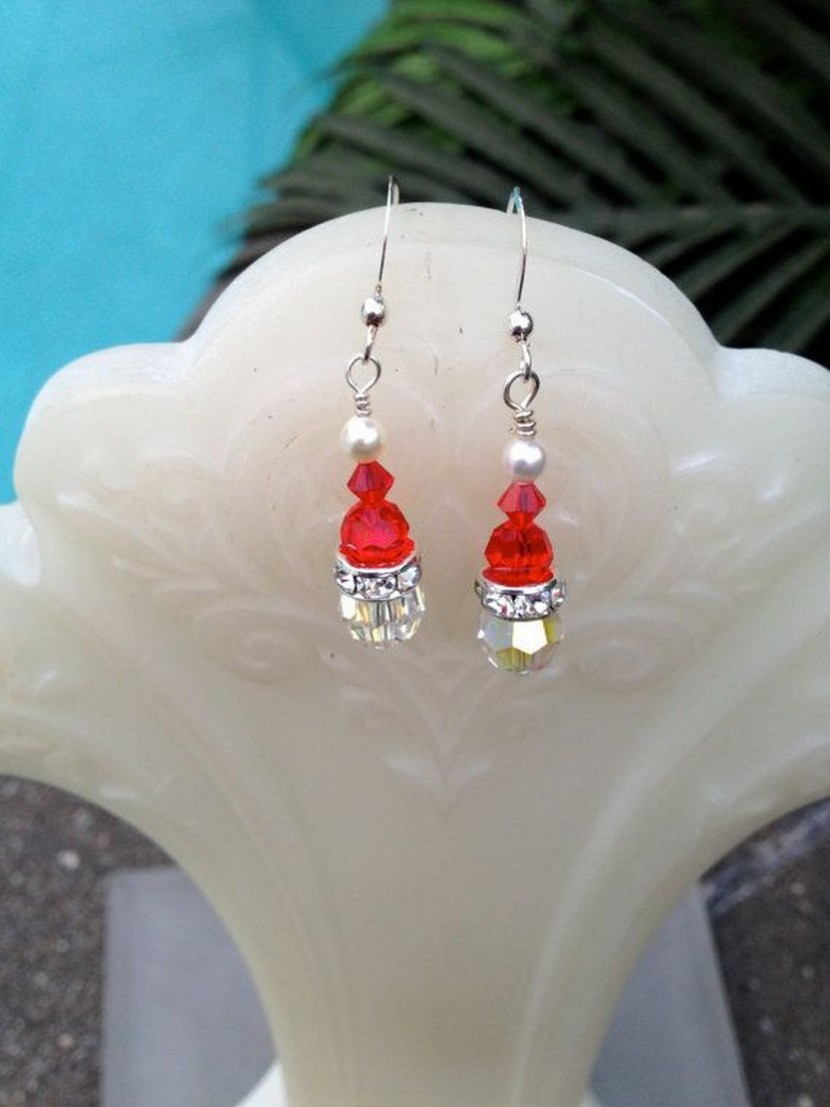 Christmas SANTA Earrings – Crystals – Sterling Silver – Red – Crystal – Swarovski Pearl – $20 on Etsy
