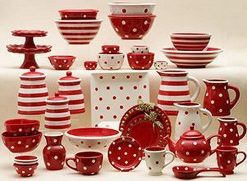 Dishes table setting serving pieces in polka dots \u0026 stripe combo \u2013 comes in ALL : red tableware set - pezcame.com