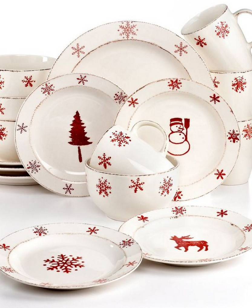 EuroCeramica Birchwood Holiday 16-Pc. Set Service for 4 \u2013 Christmas Dining \u2013  sc 1 st  Christmas Photos & 57 Beautiful Christmas Dinnerware Sets \u2013 Christmas Photos