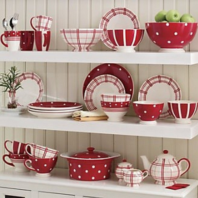 Red & White FunTastic Dinnerware Mixing Bowls And Teapot Set