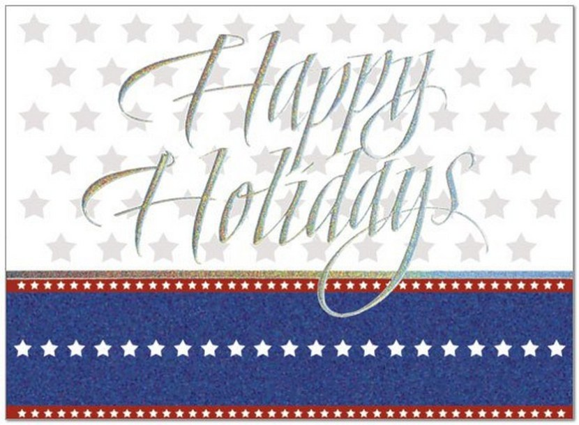 Holiday Stars – A patriotic holiday card featuring silver sparkle foil embossing