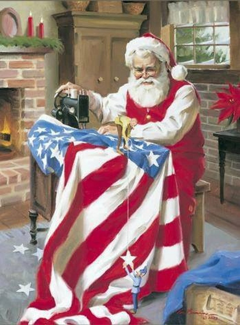 Of course Santa is Patriotic – Old Fashioned Christmas Memory