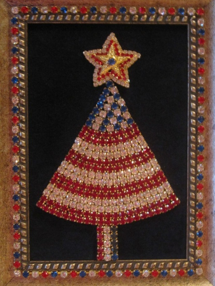 Rhinestone Jewelry Framed Christmas Tree Patriotic Red White Blue Card