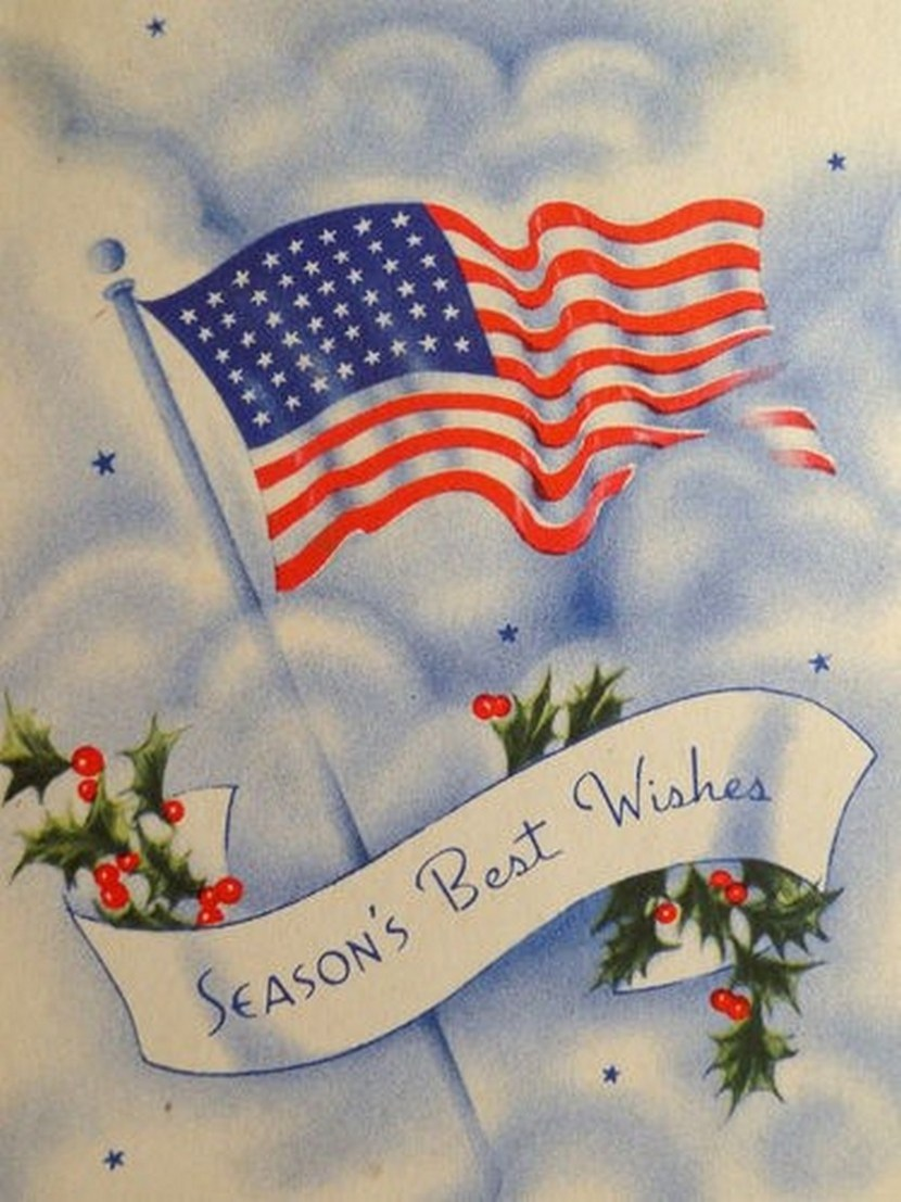 Vintage Christmas card, WII Patriotic with American Flag