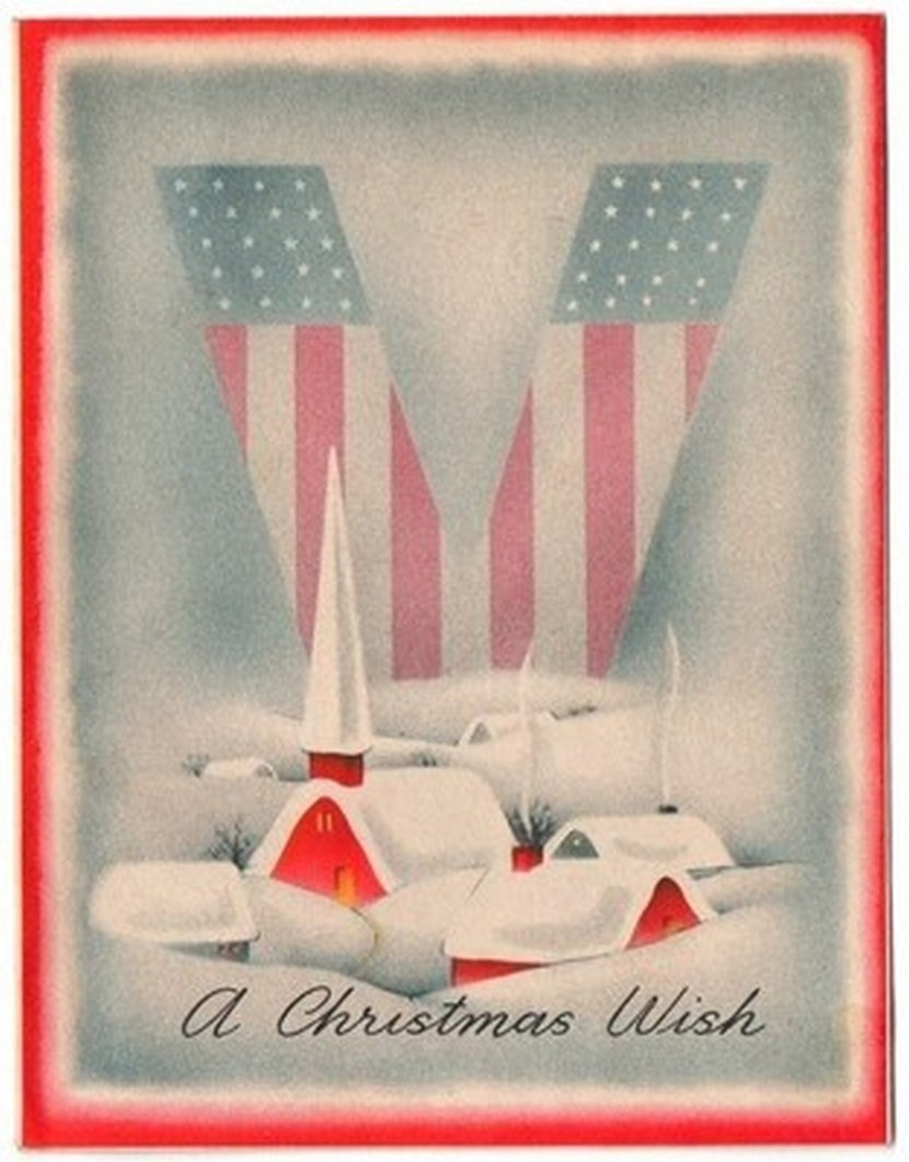 Vintage Greeting Card Christmas Patriotic WWII Victory Stars & Stripes