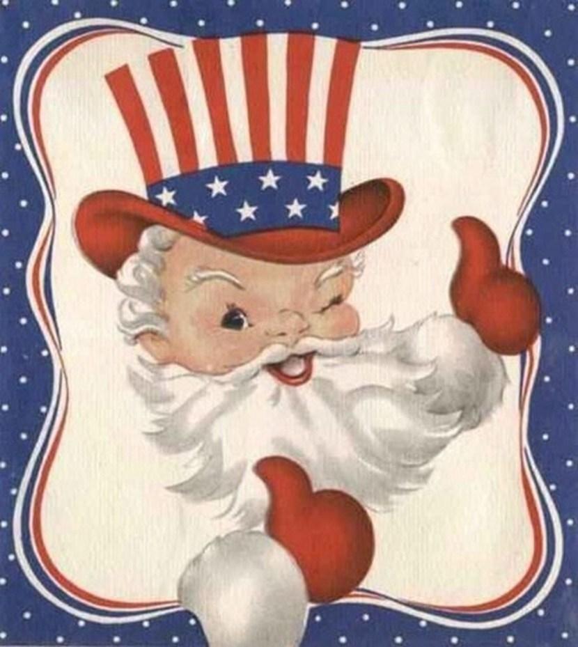 Vintage patriotic Santa Christmas card