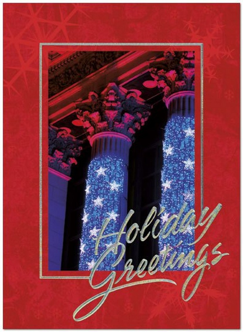 Wall Street Columns – A patriotic holiday card for the financial industry with an artistic photograph of the New York Stock Exchange