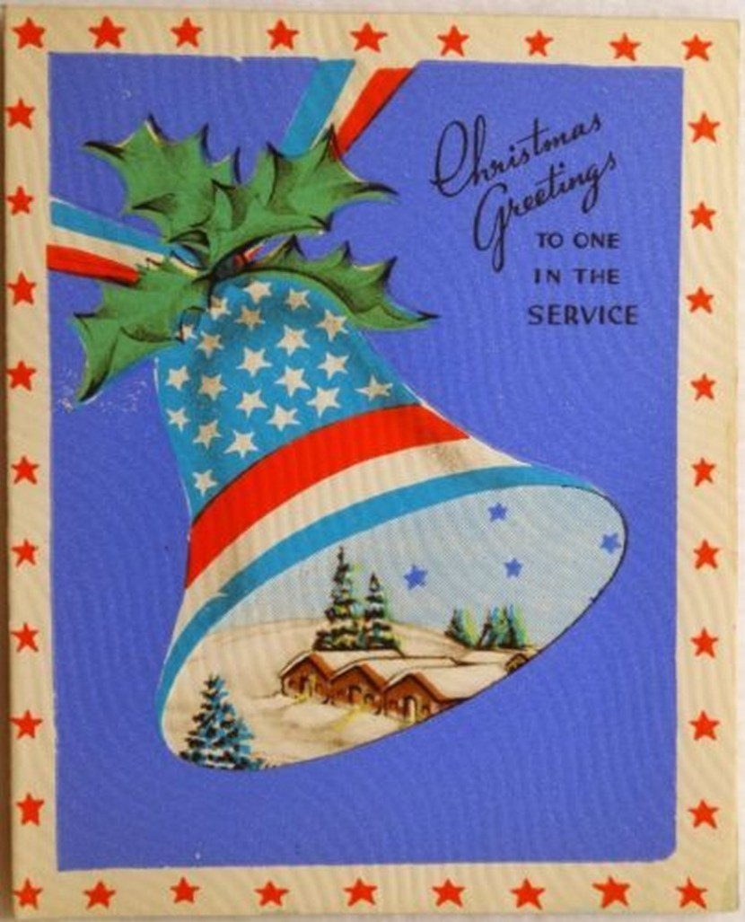 40s WWII Patriotic Flag Bell – Vintage Christmas Card