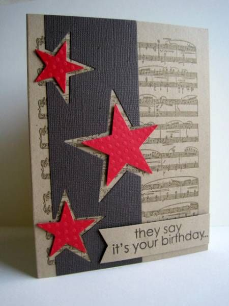 Awesome card – positive and negative space, music background, monochromatic with pop of red… awesome!