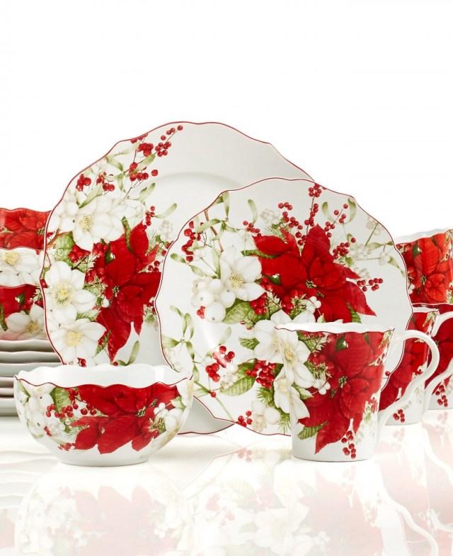 Christmas Dinnerware, Plates & Christmas Dishes - Macy's ~ WOW!!! Love poinsettias!!! so elegant