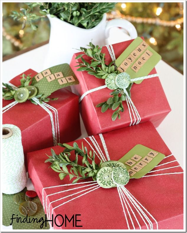 Christmas Gift Wrap Ideas – Buttons & Boxwood