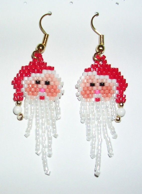 Christmas jewelry – Santa Claus beaded earrings