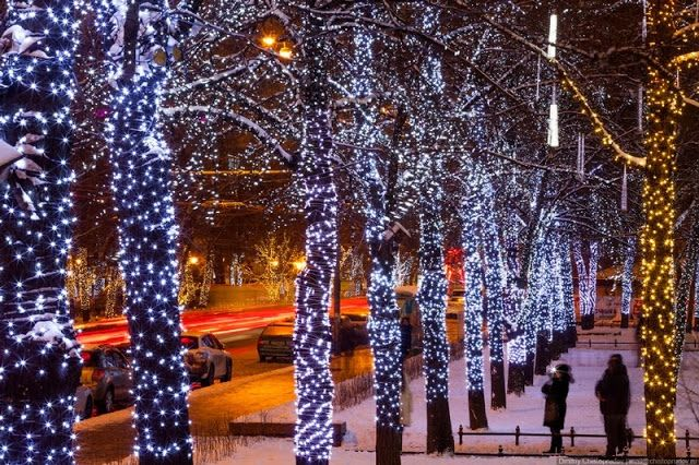 Christmas lights in Moscow Balcan Expres