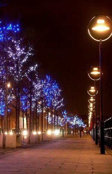 Christmas lights.. City Quay Dublin, Ireland