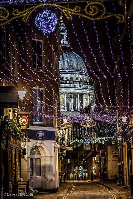 Festive street in the city – London