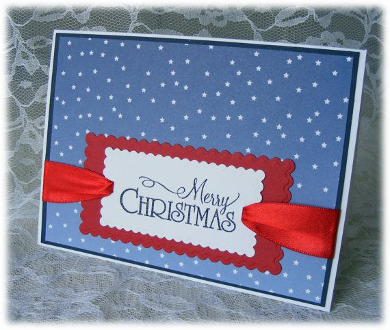 Handmade Patriotic MERRY CHRISTMAS Card – Military – perfect for a Soldier that can't be home for Christmas