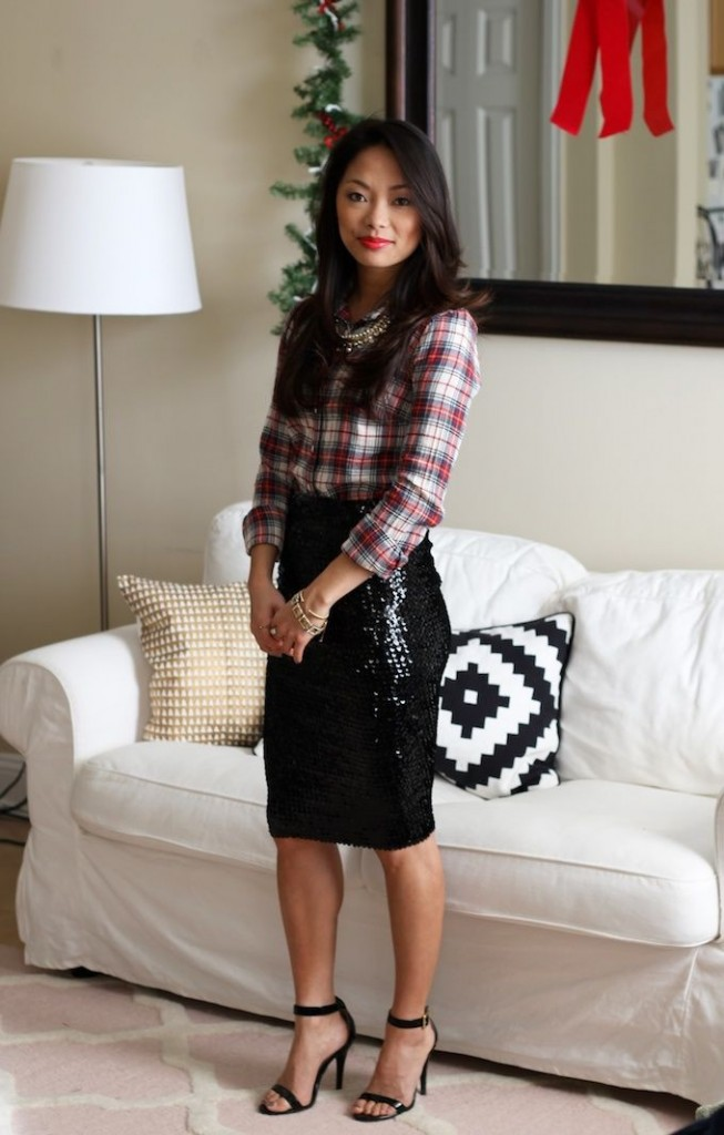 Holiday outfits – tartan, sequin skirt
