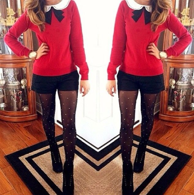 I love this holiday outfit, but I would wear boots instead of heels