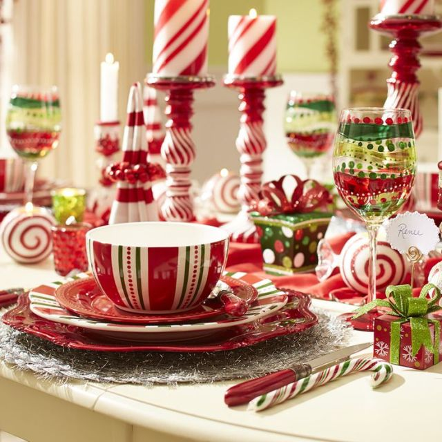 Make your Christmas dinner a little more merry and bright with the sweet, festive touch of Pier 1's Christmas Stripes Dinnerware