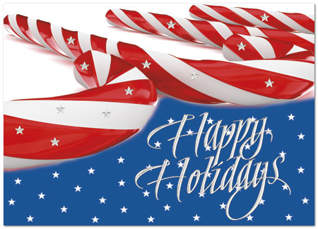 Patriotic Peppermint Christmas Card – This unique patriotic holiday card design with candy canes and silver foil stars shows your support for the USA