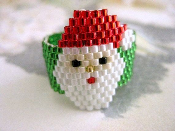 Peyote Ring Santa Christmas Beaded Seed Bead