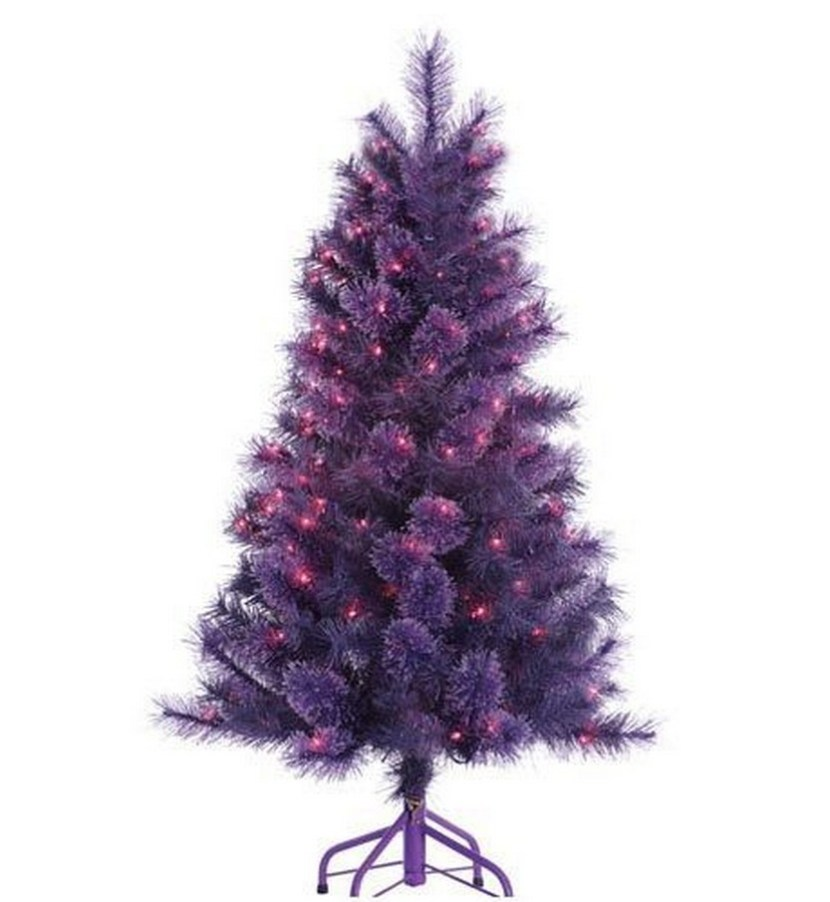4 Foot Pre-lit 'Winter Twilight' Purple Christmas Tree with Purple Lights
