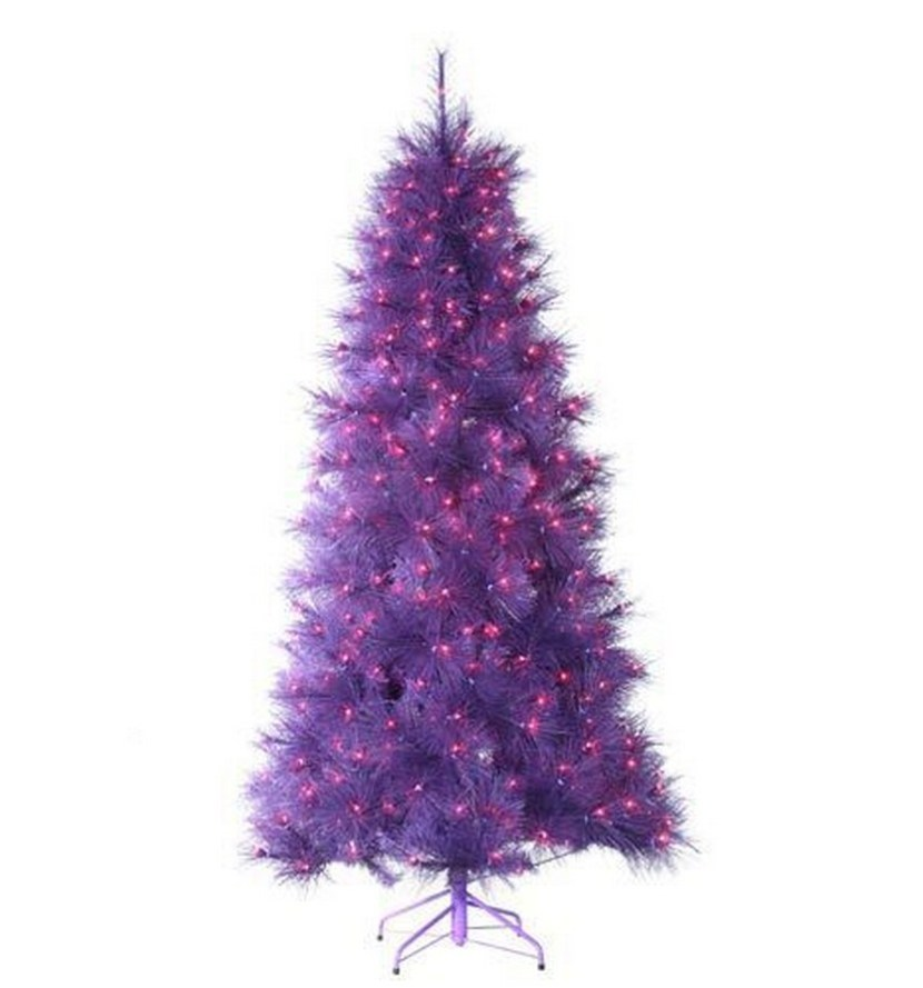"7.5 Foot Pre-lit ""Feathered Winter Twilight"" Purple Christmas Tree with Purple Lights"